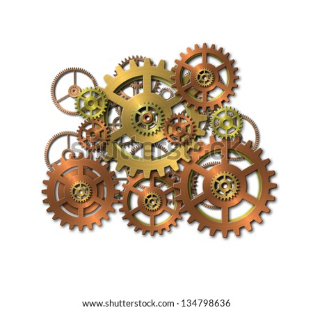 cogwheels - gears - on white background - stock photo
