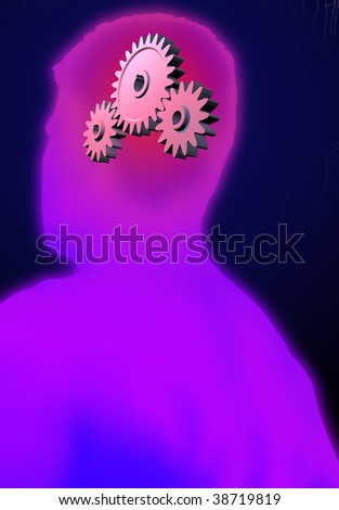 Cogwheels in a head symbolizing thinking - stock photo