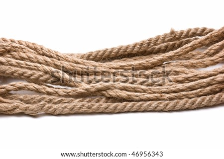coil of hemp rope isolated on a white background