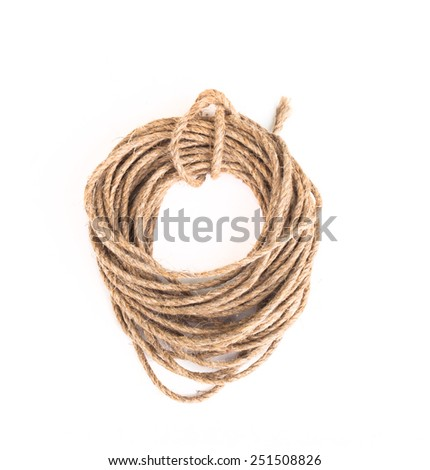 Coil of rope on a white background. - stock photo