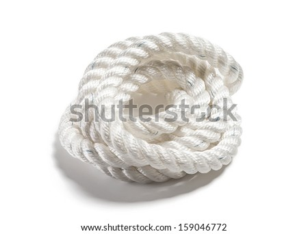 Coil of white rope on isolated background - stock photo