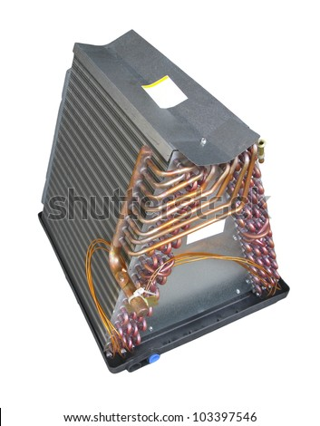 Coil or evaporator part of central air conditioner; isolated on white background - stock photo