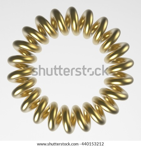 Coil spring Circle. 3D illustration. 3D CG.