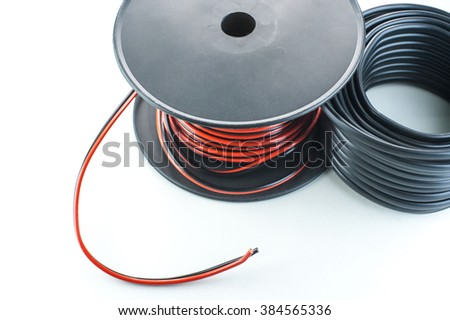 Coils cables on a white background - stock photo