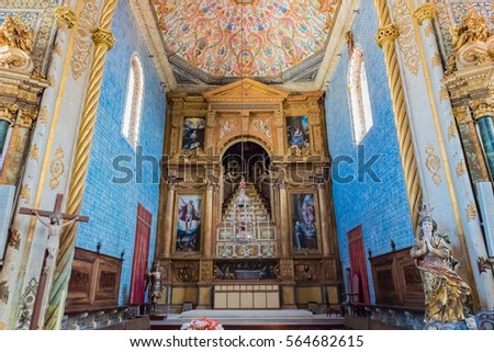 COIMBRA, PORTUGAL - JUNE 8: Chapel of Sao Miguel at University of Coimbra in Portugal on June 8, 2016. Coimbra is the largest city of the district of Coimbra, the Centro region.