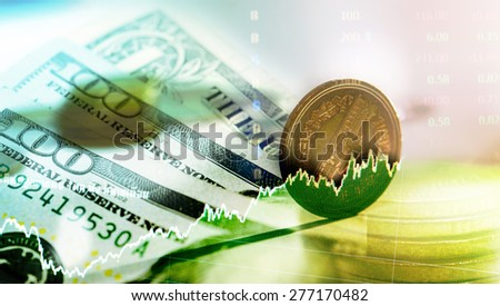 coin and money with stock concept