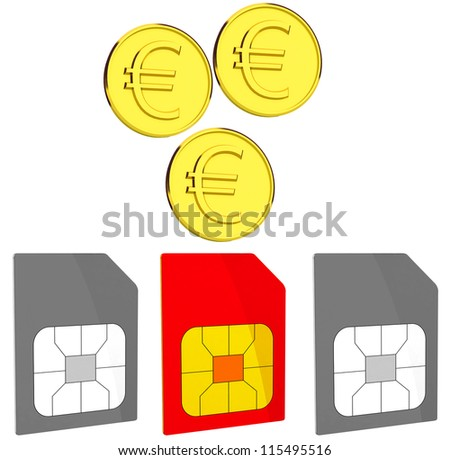 Coin and sim card. money on the sim card. Business concept. 3d ilustration isolated on white