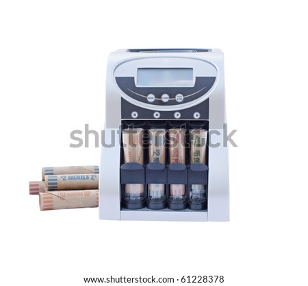 coin counting and rolling machine with coin wrappers isolated on a white background - stock photo