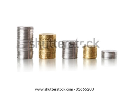 coin diagram with reflection isolated on white - stock photo