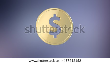 Coin Dollar Gold 3d Icon on gradient background