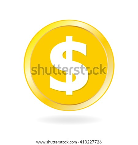 Coin icon. Gold coin with dollar and money sign.
