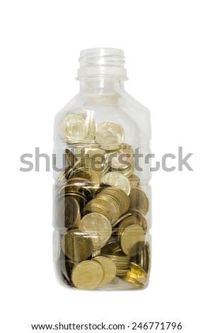 Coin in piggy bank - stock photo