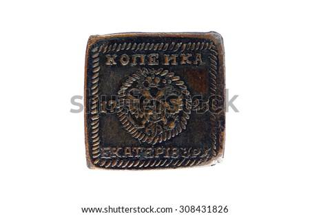 Coin 1 Kopeck Russian Empire 1726. Empress Catherine - stock photo