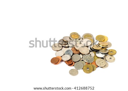 coin money yen are saperated on the isolated - stock photo