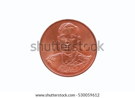 Coin of Thailand isolated on white background, King Bhumibol Adulyadej of Thailand depicted in the Thai coin.