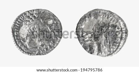 Coin Old silver Roman denarius.  ANTONINVS AVG PIVS P.P. IMP II.86-161 posthumous coin    - stock photo
