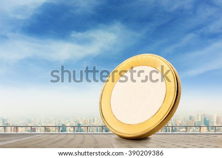 Coin on a balcony - stock photo