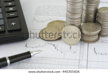 Coin on analysis investment report. Concepts of financial, investing, investment, invest, analysis data, investment analysis. - stock photo