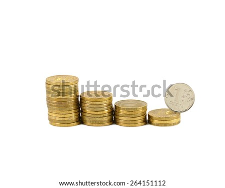 Coin one ruble roll down the pyramid of coins - stock photo