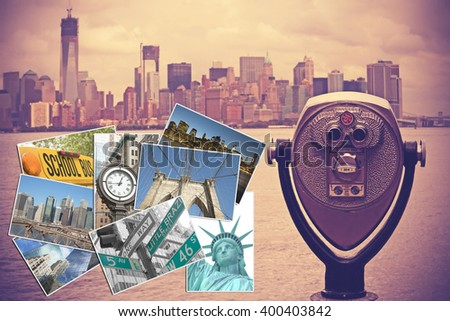Coin operated binocular with Lower Manhattan on the background is in the right side of the picture. Set of photos from NYC are in the left side of the picture. Photo is edited as Nashville effect.. - stock photo