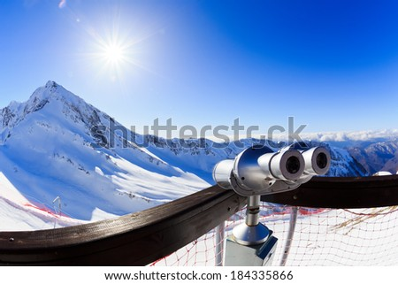 Coin operated binoculars at a observation point - Krasnaya Polyana. Sochi. Russia - stock photo