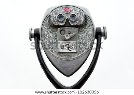 Coin operated binoculars on white - stock photo