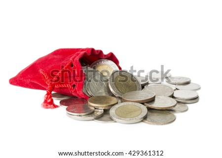 Coin overflow from red bag isolated on white background - stock photo