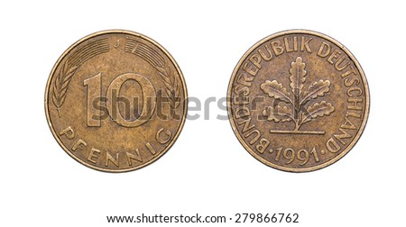 Coin 10 pfenning over a white background. Germany
