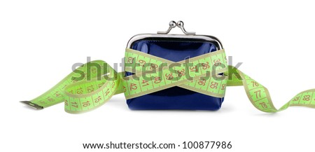 Coin purse with measuring tape isolated on white - stock photo