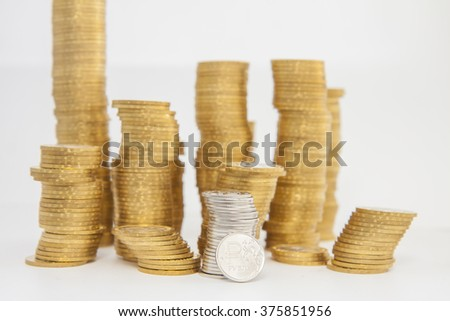 Coin ruble symbol on background heap of coins
