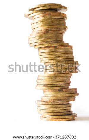Coin stack isolated on white background.