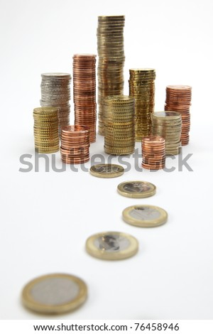 coin stacks on white background