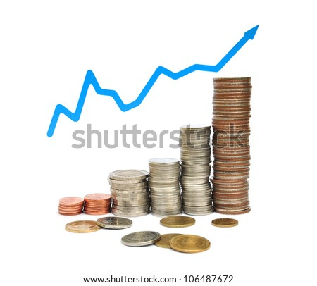 Coin thai bath and business graph on white background