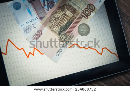 Coins and banknotes of russian roubles on tablet with fluctating graph. Devaluation of the Russian rouble.