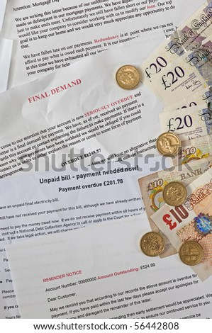 coins and notes to pay bills