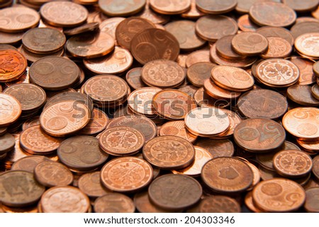 Coins background. euro coins. cent coins. euro cents. - stock photo