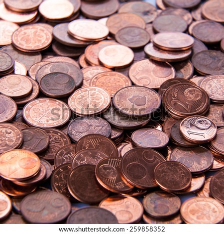 Coins background. euro coins. cent coins. euro cents