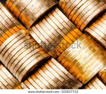 coins close-up (russian 10 rubles) - stock photo