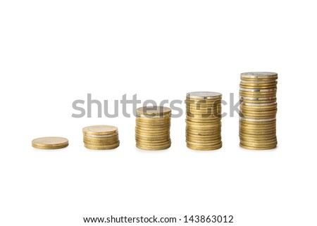 coins cumulative on isolate white background - stock photo