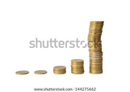 coins cumulative on isolate white background