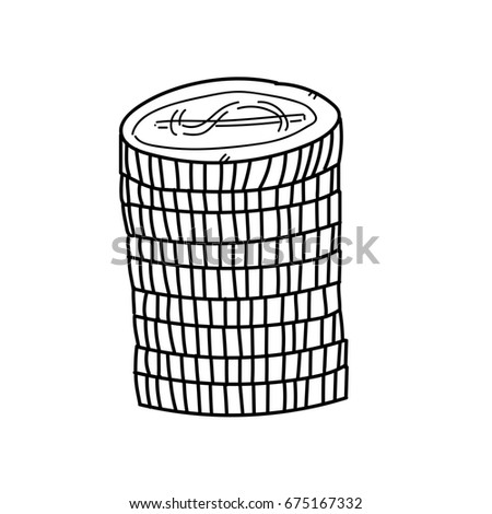Coins for investment freehand drawing illustration