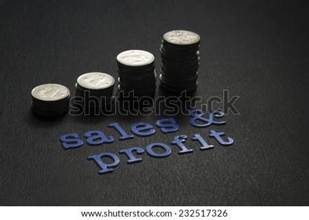 Coins forming a graph with Sales & Profit word