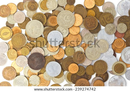 Coins from different eras - stock photo