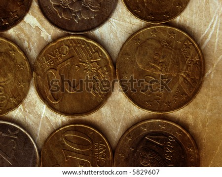 coins- grunge background - stock photo