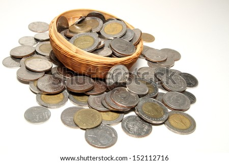 Coins in a basket on a white background.