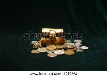 Coins in a chest - stock photo