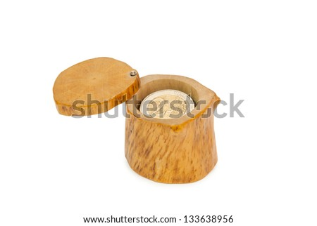 Coins in casket. Isolated on a white background - stock photo