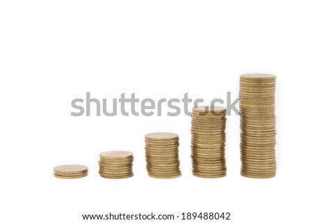 Coins in growth chart, isolated on white background.