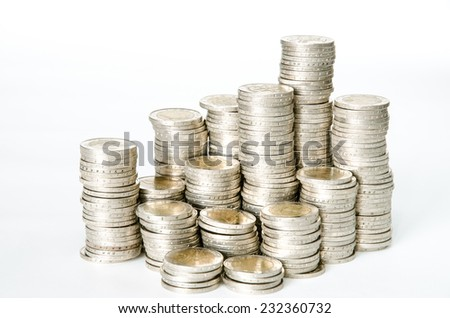 coins in pile isolated image - stock photo