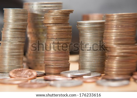 Coins in stacks. Nickel and copper. - stock photo
